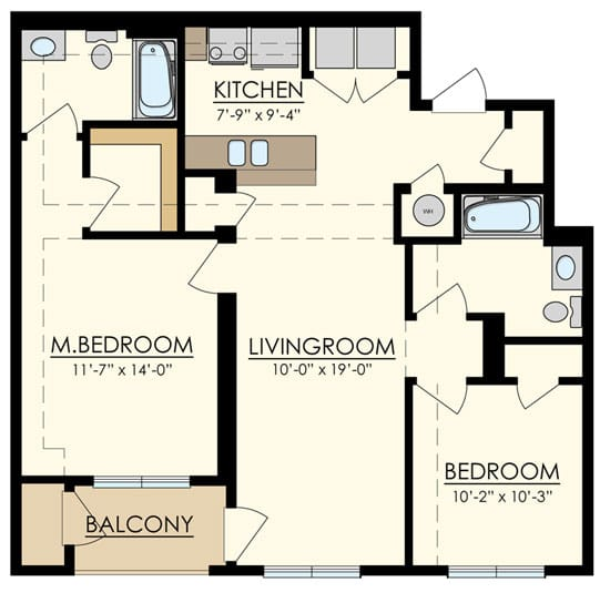 Station at Manayunk Two Bedroom Floor Plan Chestnut
