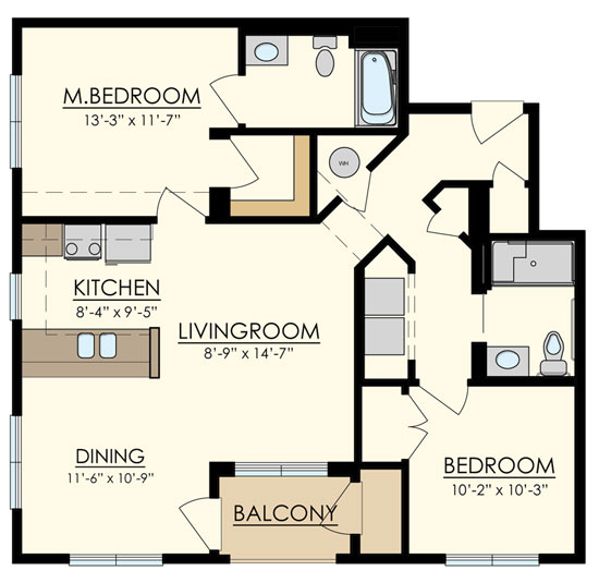 Station at Manayunk Two Bedroom Floor Plan Locust