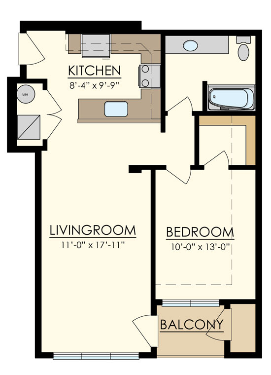 Station at Manayunk One Bedroom Floor Plan Lombard