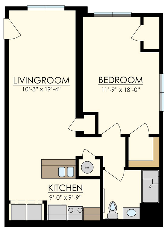 Station at Manayunk One Bedroom Floor Plan Pine