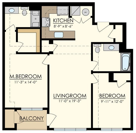 Station at Manayunk Two Bedroom Floor Plan Spruce