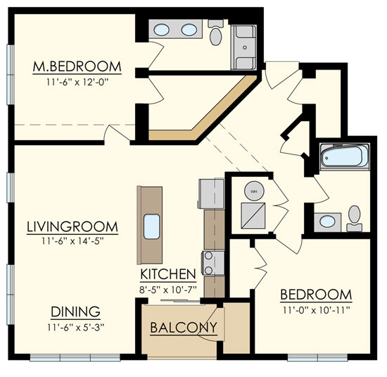 Station at Manayunk Two Bedroom Floor Plan Walnut