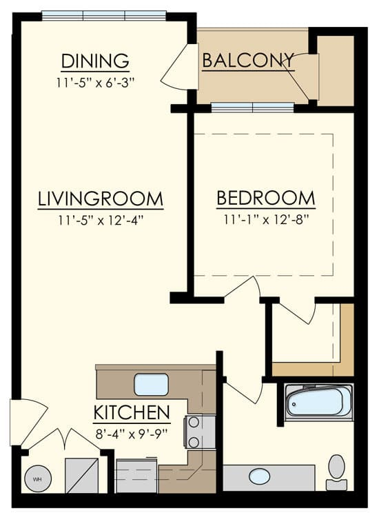 Station at Manayunk One Bedroom Floor Plan Cypress
