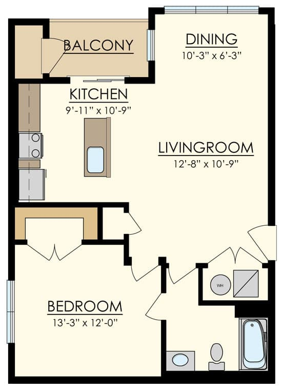 Station at Manayunk One Bedroom Floor Plan Cherry