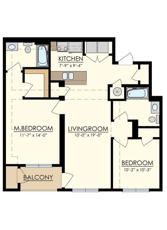 Station at Manayunk Two Bedroom Floor Plans